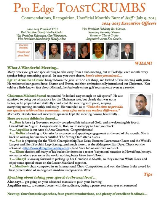 ProEdge ToastCrumbs 1. July 2014