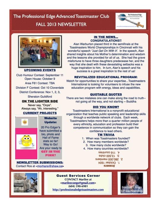 Professional Edge Fall Newsletter 2013